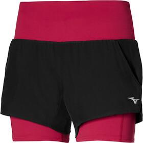 Mizuno 4.5 Pantaloncini 2in1 Donna, nero/rosso